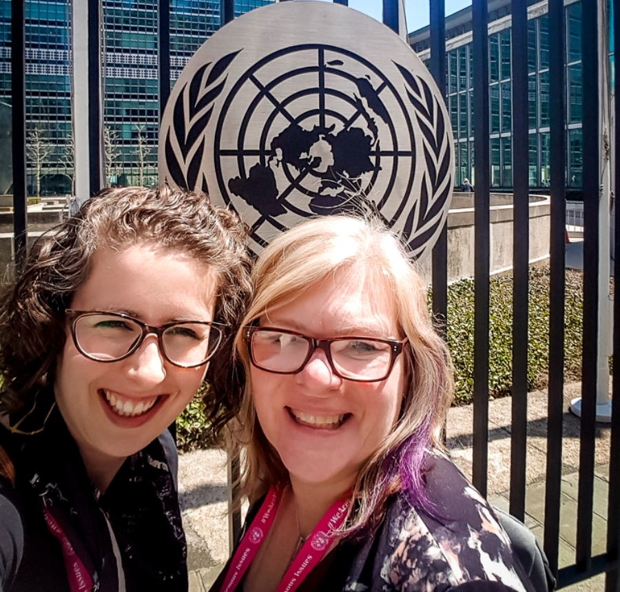 Rachel Singleton-Polster and Jennifer Preston at the UN Permanent Forum on Indigenous Issues in New York 2018