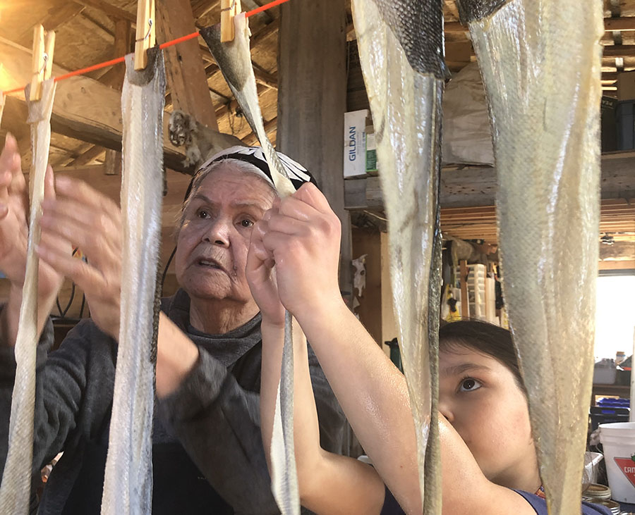 In advancing the TRC's Calls to Action CFSC has provided individual grants like one to Cowichan Elder Hul'q'umin'num, teacher, and knowledge keeper Philomena Williams, to bring in a fish leather expert for teaching this ancient skill